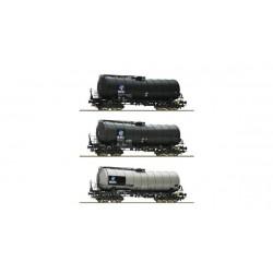 """ROCO H0 Coffret de trois wagons citernes coudés """"KVG"""" de la DB AG"""