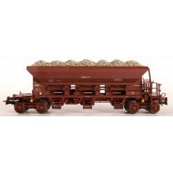 VAN BIERVLIET Coffret de 3 wagons trémies à vidange automatique SNCB chargés de ballast.