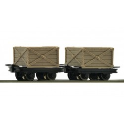 ROCO H0e Boite: 2 wagonnets à ridelles en bois