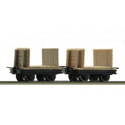 ROCO H0e Boite: 2 wagonnets pour bois de mines