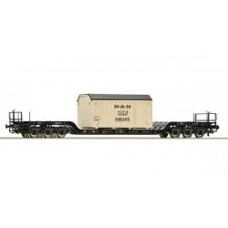 ROCO Wagon à plancher surbaissé + caisse bois