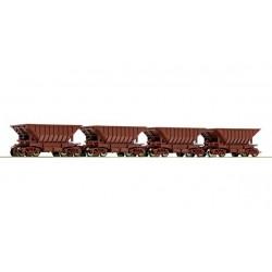 ROCO Set de wagons minéraliers. 4x Uad 4a.