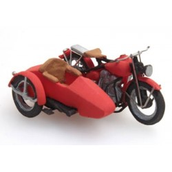 ARTITEC  Moto liberator rouge USA avec sidecar