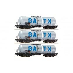 ROCO Coffret de trois wagons citerne de la GATX